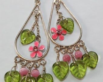 Pink & Green Fairy Flower Earrings