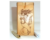 Custom Dugout wood smoke stopper and one hitter with wood burned Mermaid