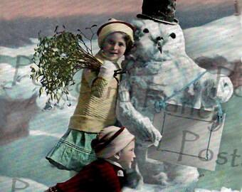 Enchanting Real Photo Vintage Postcard, Kids with Snowman, Instant DIGITAL Download