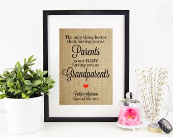Pregnancy Reveal to Grandparents, Grandparent Gift | Pregnancy Announcement Burlap Print | The Only Thing Better Than Having You As Parents