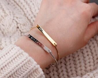Personalized Bar Bracelet,Bridesmaid gift, name bar Bracelet, graduation gift, Coordinates,Roman numerals, Bar Bangle