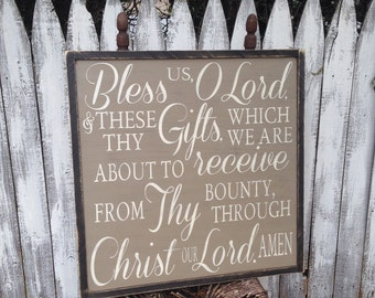 Large Bless us Lord & these thy Gifts Christian Dinner Prayer Rustic Distressed Farmhouse Style Framed Wood Kitchen Dining Sign 24x24 Square