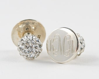 Monogram Stud Earrings, CZ Monogram Earrings, Stainless Steel Gold, Silver or Rose Gold Monogram Earrings, Sparkly Large Back Earrings