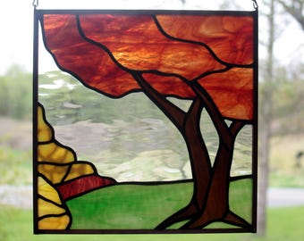 Fall Tree Landscape Stained Glass Panel, Fall Colors, Stained Glass Window, Glass Art