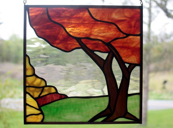 Fall Tree Landscape Stained Glass Panel
