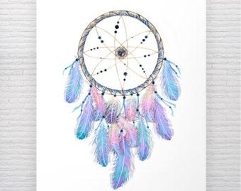 Watercolour Dreamcatcher Print Feather Dream Catcher Art with Crystals Nursery Art Dreamcatcher Tribal Print Meditation Art Native American