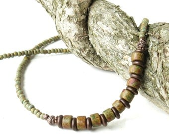 Earthy beaded necklace - olive green Picasso Czech glass & copper beads