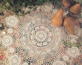 Grandmother's Favorite Centerpiece Crochet Doily Pattern, Kitchen Decor, Table Topper, Home Decor, Cotton Thread Lace Doilies