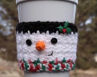 Crochet Snowman Coffee Cup Cozy