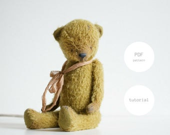 Pdf Sewing Pattern For Women Mohair Teddy Bear Pattern Stuffed Animal Pattern Artist Teddy Bear Instant Download PDF Tutorial 12 inches