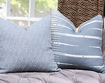 Peter Dunham Atlas in Indigo - Blue Linen - Designer Blue and Off White Pillow Cover - Motif Pillows - Global home decor