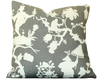 Schumacher Shantung Silhouette Print Pillow Cover in Smoke