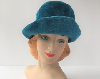 Wool Hat, Vintage Teal Hat, 1960s Ladies' Hat With Brim, Wearable Faux Fur Hat, Fuzzy Wool Hat, Vintage Hat for Stage or Photo Prop