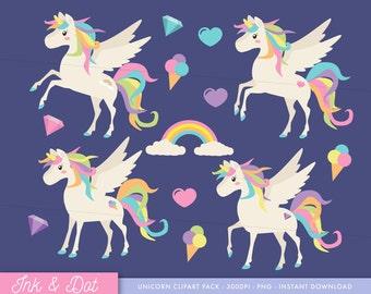 Unicorn Clip Art, Cute Unicorns, Rainbow, Diamonds, Hearts, Pony Clipart, Magical, Party, Little Pony Unicorns - Commercial & Personal