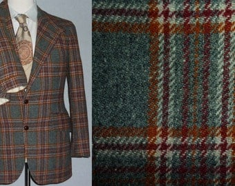 Vintage 1970s Mens Suit / 34 - 36 / Chaps / Polo / Ralph Lauren / Plaid Suit / Flannel / 1970s Suit / Vintage 1970s Mens Clothing / Small