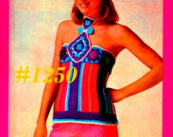 A Best Vintage 1970s Mod Halter Top #1250 PDF Digital Crochet Pattern