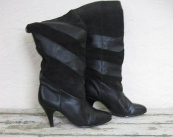 1980's Vintage Black Slouch Boots// Leather// Suede// 6 1/2W