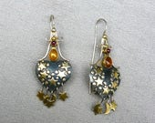 80s Sterling Silver and Brass Moon and Star Earrings with Garnet and Amber