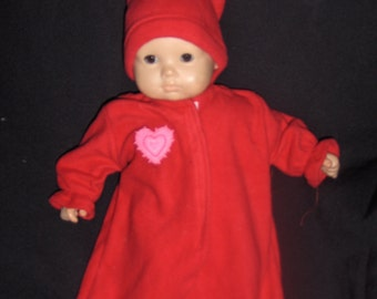 Red Valentine Heart Applique Fleece  Bunting  and Hat Doll Clothes Made To Fit Bitty Baby and Other 15 inch Dolls