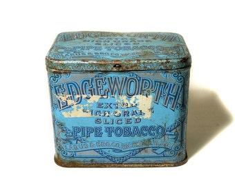 1930s Tobacco Tin, Antique Advertising Tin, 30s Storage Tin, Blue Vintage Storage Box, 30s Edgeworth Pipe Tobacco Tin, Hinged Tobacco Box