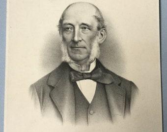 Victorian engraving of a gentleman, Morris & Company Strand, Elderly man, Mutton chops, Beard