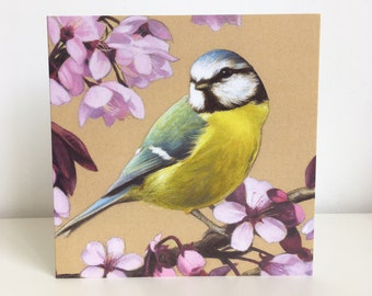 Pack of 6 'Blue Tit and Cherry Blossom' Cards