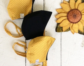 Reversible Bonnet - mustard/black (original style)