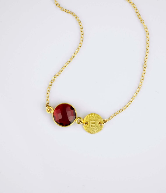 Personalized January Birthstone Necklace Garnet Necklace