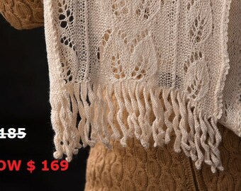 """MOTHER'S DAY SALE: Lace Scarf """"Saturna Island"""" hand knit in pure Tussah Silk undyed with lacey leaves and crocheted tassels"""