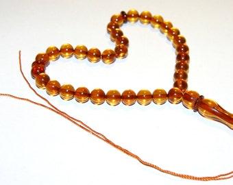 Genuine Baltic Amber 33 pcs Islamic Prayer Beads Misbaha Tasbih Kombolo 8 mm Round Beads Cognac