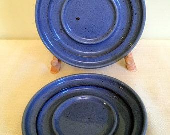 2 Dansk Blue Speckled Stoneware Saucers / Dansk Neilstone Blue / Niels Refsgaard / Dansk Stoneware / Blue Speckled Saucer/ Dansk Blue Saucer