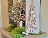 Clearance Coastal Christmas Shell Tree on Wood Plaque, Shell and Crushed Glass Beach Christmas Tree, Alternative Tree, Shell Art