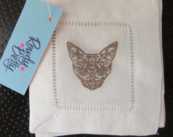 4 hand stamped cat skull fabric coaster/cocktail napkins