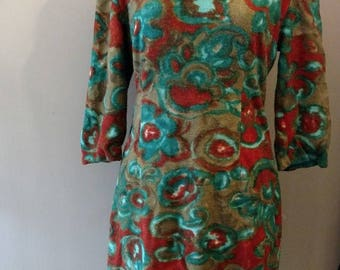 Vintage 50s Water Color Flower Print Wiggle Dress Mad Men Orlon Knit Sz S
