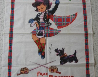 Vintage Cotton Tea Towel, Scottish Dancer, Scottie Dog, Frae Bonnie Scotland, Souvenir Tea Towel, NOS