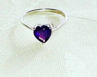 Amethyst Purple Heart Ring Solitaire February Birthstone Handmade Jewelry