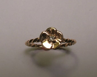 14 Karat Rose Gold Flower Ring With Diamond
