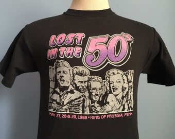 80s Vintage Lost in the 50's 1988 Elvis Presley Buddy Holly James Dean Marilyn Monroe T-Shirt - SMALL