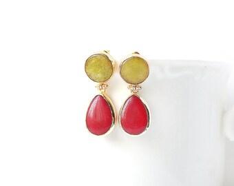 Crimson and Yellow Jade Double Stone Stud Earrings