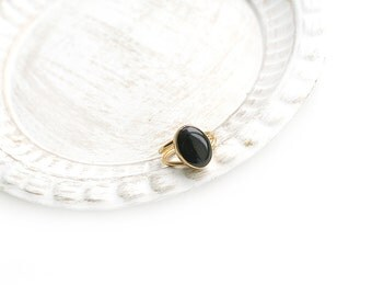 Adjustable Oval Black Onyx Stone Gold Plated Ring