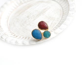 Triple Adjustable Turquoise, Blue and Cherry Red Jade Stone Gold Plated Ring