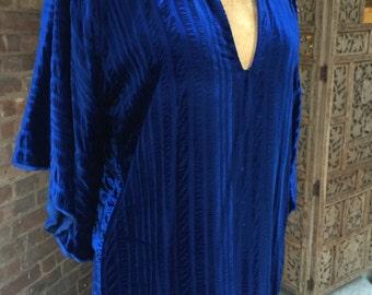 1960s Sapphire Blue Embossed Velvet Kaftan with Bell Sleeves