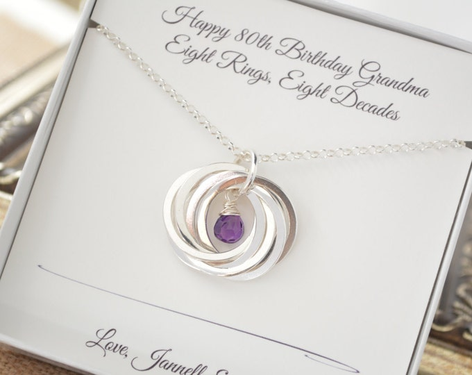 80th Birthday gift for mom and grandma necklace, 8th Anniversary gift for women, February birthstone necklace, Amethyst birthstone jewelry