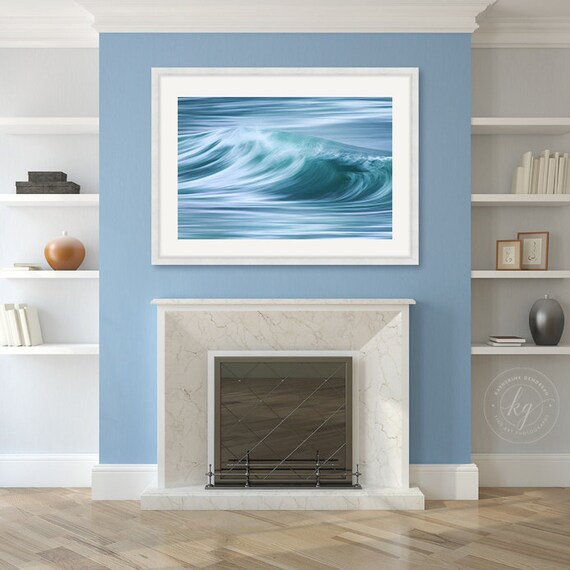 large framed art abstract ocean wave photo nautical decor coastal artwork beach wall art teal blue