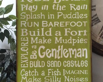 LARGE Boys Subway/Typography Word Art Primitive Wooden Sign