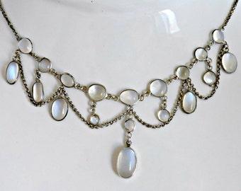 Enchanting Vintage Edwardian Sterling Silver Genuine Blue Cabochon Moonstone Garland Necklace