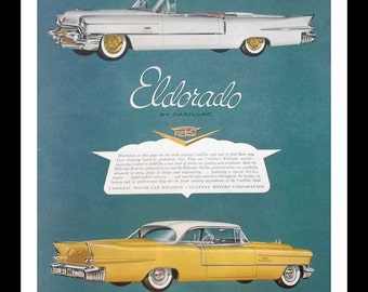 1956 Gold White and White Convertible Cadillacs Illustrated.  Cadillac Eldorado.  Classic cars; classic looks.  ...the FINS!  Ready Frame