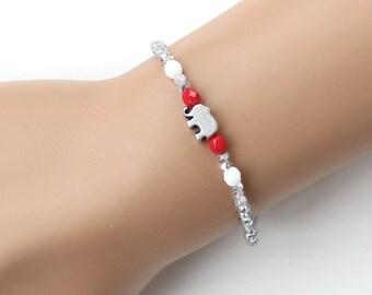 Silver bracelet, elephant bracelet, christmas gift, gift for her, crystal bracelet, lucky elephant, best friend birthday gift
