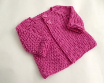Hand knit baby sweater, modern baby shower gift, raspberry pink baby girl sweater, hand knit cardigan, modern baby clothes, girl 3 months