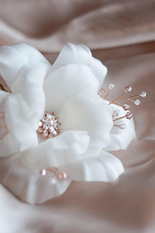 Rose gold wedding hair accessories - Bridal Hairpiece Rose Gold Hair Accessories Crystal Flowers Wedding Hair Flowers Vintage Style Wedding Hair Pins Silk White Rose